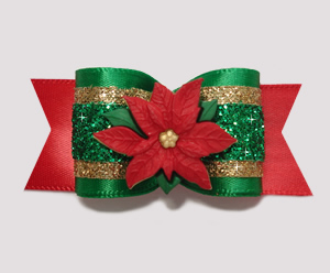 "#A7221 - 7/8"" Dog Bow - Beautiful Festive Glitter, Poinsettia"
