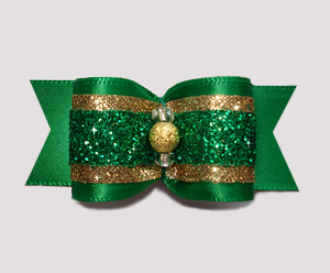 "#A7224 - 7/8"" Dog Bow- Gorgeous St Patrick's Glitter, Green/Gold"