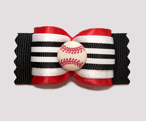 "#A7226 - 7/8"" Dog Bow - Baseball, Red, Black & White"