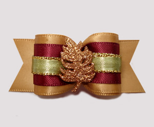 "#A7227 - 7/8"" Dog Bow - Gorgeous Autumn Gold Glitter Leaf"