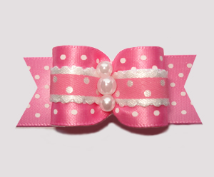 "#A7231 - 7/8"" Dog Bow - Country Cottage Ruffle, Pink Dots"