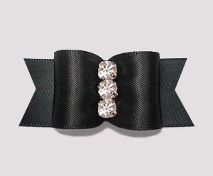 "#A7232- 7/8"" Dog Bow - Gorgeous Classic Black Satin, Rhinestones"