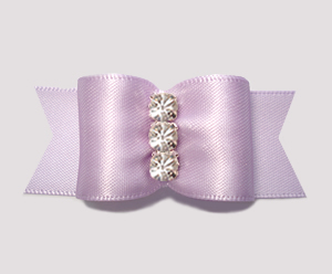 "#A7236 - 7/8"" Dog Bow - Lovely Lavender Satin, Rhinestones"