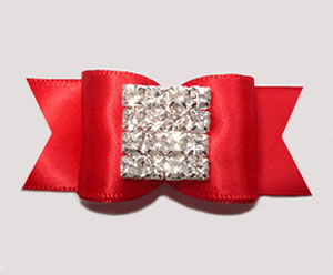 "#A7249 - 7/8"" Dog Bow - Stunning, Classic Red Elegance"