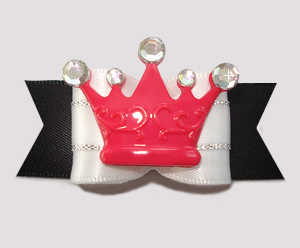 "#A7253- 7/8"" Dog Bow - Fit for a King or Queen, Black/Red, Crown"