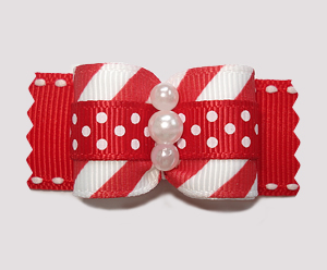 "#A7260 - 7/8"" Dog Bow - Candy Cane Stripes 'n Dots, Red/White"