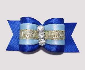 "#A7263 - 7/8"" Dog Bow - Beautiful Blues with Gold, Rhinestones"