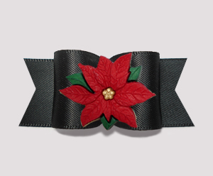 "#A7271- 7/8"" Dog Bow - Gorgeous Classic Black Satin, Poinsettia"