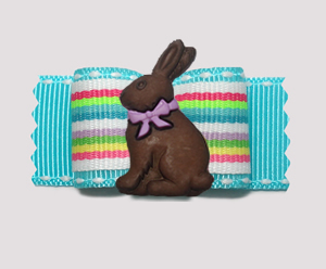 "#A7276 - 7/8"" Dog Bow - Bright Stripes, Spring Chocolate Bunny"