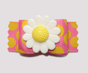 "#A7279 - 7/8"" Dog Bow - Pink Lemonade/Dizzy Dots with Daisy"