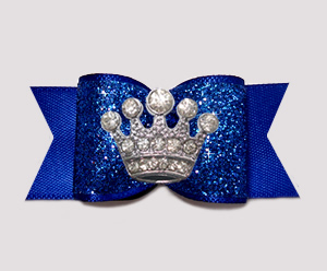 "#A7285 - 7/8"" Dog Bow - Regal Blue Glitter, Rhinestone Crown"
