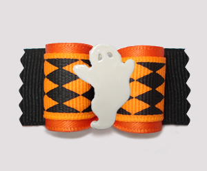 "#A7286 - 7/8"" Dog Bow - Spooky Halloween Ghost, Orange/Black"