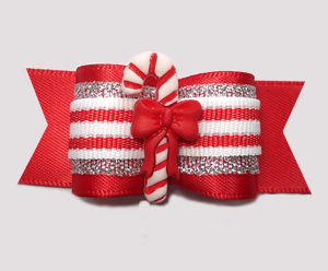 "#A7287 - 7/8"" Dog Bow - Sweet Candy Cane Delight, Red Satin"