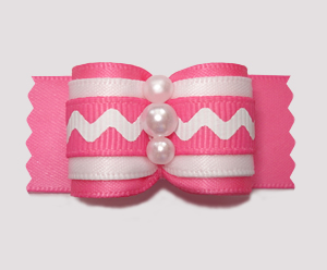 "#A7288 - 7/8"" Dog Bow - Playful Pink/White ZigZag"