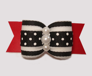 "#A7289 - 7/8"" Dog Bow - Classic Black/White/Red, Stripes 'n Dots"