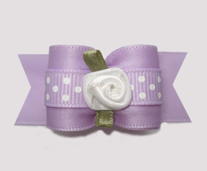 "#A7291 - 7/8"" Dog Bow - Lovely Lavender Satin with White Rosette"