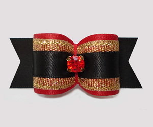 "#A7295 - 7/8"" Dog Bow - Gorgeous Red/Gold/Black, Ruby Rhinestone"