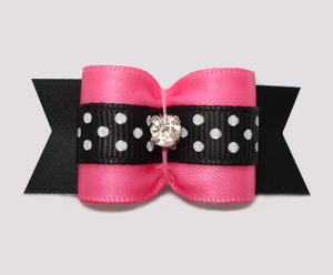 "#A7301- 7/8"" Dog Bow- Lovely Pink/Black Satin w/Dots, Rhinestone"