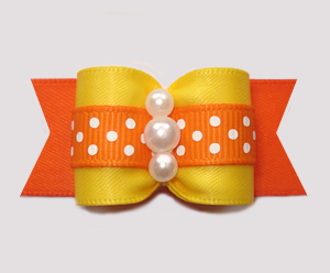 "#A7306 - 7/8"" Dog Bow - Sunny Autumn Dots, Yellow/Orange"