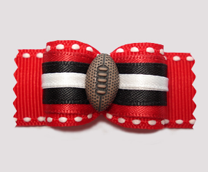 "#A7307 - 7/8"" Dog Bow - Football, Red/Black"