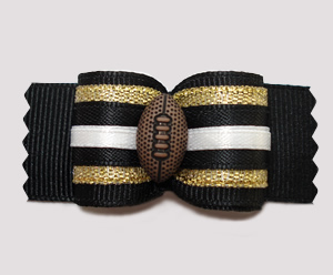 "#A7308 - 7/8"" Dog Bow - Football, Black/Gold"