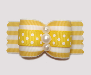 "#A7316- 7/8"" Dog Bow - Sensational Sunny Yellow, Dots 'n Stripes"
