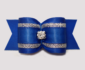 "#A7320- 7/8"" Dog Bow - Regal Blue Satin w/Silver, Rhinestone"