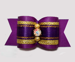 "#A7324 - 7/8"" Dog Bow - Gorgeous Regal Purple/Gold, Rhinestone"