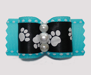 "#A7328 - 7/8"" Dog Bow - Sweet Little Paws, Blue/Black"