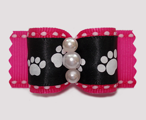 "#A7329 - 7/8"" Dog Bow - Sweet Little Paws, Pink/Black"