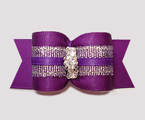 "#A7335 - 7/8"" Dog Bow - Rich Purple Satin & Silver, Rhinestones"