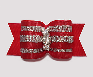 "#A7336 - 7/8"" Dog Bow - Showy Red & Silver, Triple Rhinestones"