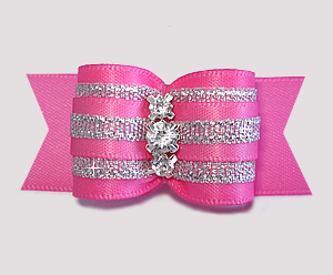 "#A7338 - 7/8"" Dog Bow - Showy Pink & Silver, Triple Rhinestones"
