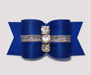 "#A7339 - 7/8"" Dog Bow - Rich Blue/Silver, Triple Rhinestones"