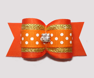"#A7342- 7/8"" Dog Bow - Orange/Gold with Sparkle & Sprinkle Dots"