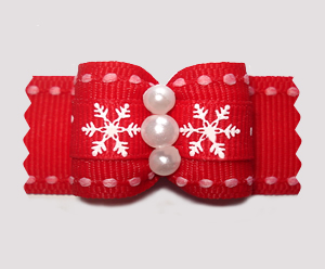 "#A7345 - 7/8"" Dog Bow - A Sprinkle of Snow, Red/White"