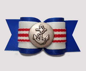"#A7355 - 7/8"" Dog Bow - Nautical Stripes, Blue/White/Red, Anchor"