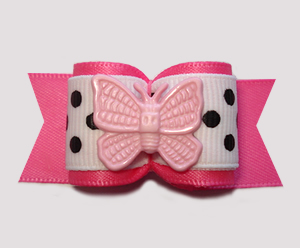 "#A7361 - 7/8"" Dog Bow - All A-Flutter, Pretty Pink Butterfly"