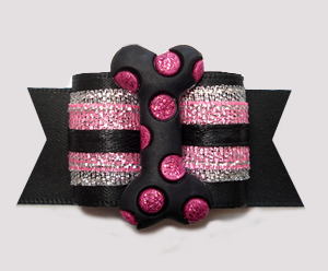 "#A7362 - 7/8"" Dog Bow - Black/Pink Shimmer with Bling Bone"