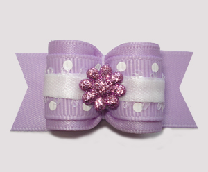 "#A7364 - 7/8"" Dog Bow - Lovely Lavender, Dots 'n Glitter Daisy"