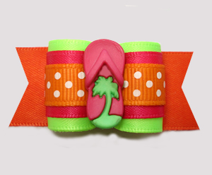 "#A7367 - 7/8"" Dog Bow - Hot Summertime Fun! Palm Tree Flip Flop"