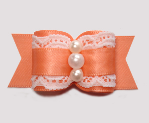 "#A7370 - 7/8"" Dog Bow - Gorgeous Victorian, Lace/Peach Satin"