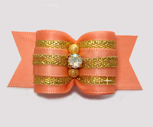"#A7371 - 7/8"" Dog Bow - Precious Peach & Gold, AB Rhinestone"