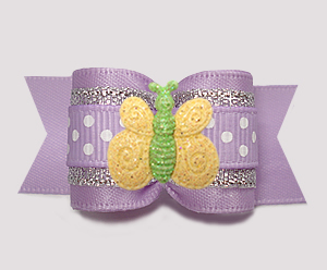"#A7372- 7/8"" Dog Bow- Lavender Sparkle & Dots, Sparkle Butterfly"