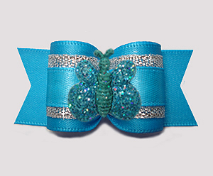 "#A7374 - 7/8"" Dog Bow - Vibrant Blue/Silver, Glitter Butterfly"