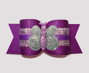 "#A7376 - 7/8"" Dog Bow - Rich Purple & Silver, Glitter Butterfly"