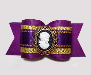 "#A7379 - 7/8"" Dog Bow - Gorgeous Regal Purple/Gold, Cameo"