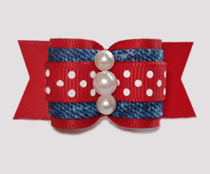 "#A7380 - 7/8"" Dog Bow - Classic Red, Denim 'n Dots"