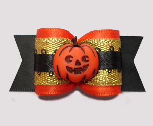 "#A7387 - 7/8"" Dog Bow - Gorgeous Halloween/Fall Pumpkin w/Gold"