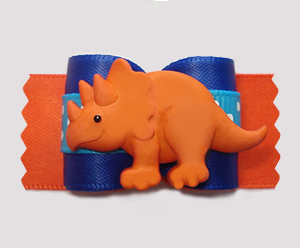 "#A7392- 7/8"" Dog Bow - Happy Dinosaur (Triceratops), Blue/Orange"
